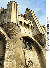 The entrance to The Popes Palace in Avignon, France - The...
