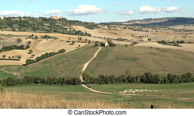 Tuscany - View on the Val d'Orcia in Tuscany, Italy with the...