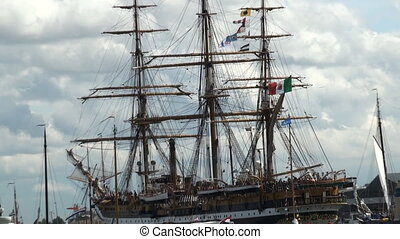 Tall ship rigging - Tall ship on its way to the harbour of...