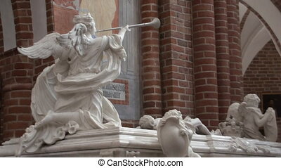 Tombs of Danish kings in the mausoleum of Roskilde Cathedral...