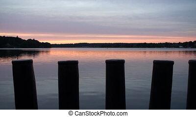 Sunset over lake in Denmark - Sunset over Danish lake near...