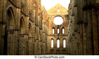 Sunlit abbey - The unfished abbey of San Galgano near...