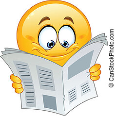 Emoticon with newspaper - Emoticon reading a newspaper