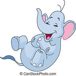 Laughing elephant - Elephant rolling on the floor laughing