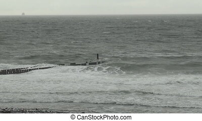 Sea shore of the North-Sea along the Dutch coast in the...