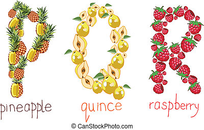alphabetic letters from the fruit - PQR