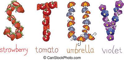alphabetic letters  STUV