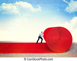 vip way - man roll huge red carpet