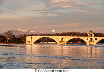 The St-Benezet bridge in Avignon, - The famous medieval...