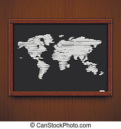 Wooden framework with world map. Vector illustration.