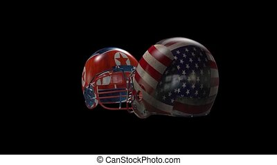 two Football helmets collide