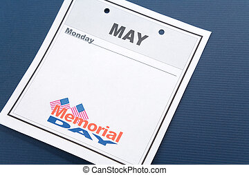 Memorial Day, calendar date for background