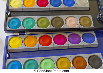 Artist Gouache Paints - Close up of a colorful tray...