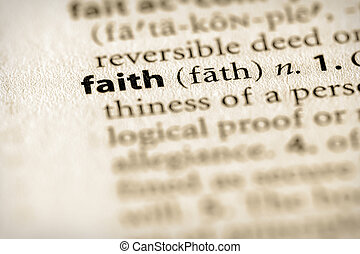 Faith - Selective focus on the word faith Many more word...
