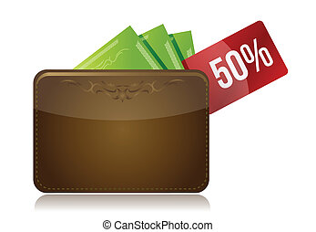 Wallet with a percentage discount label