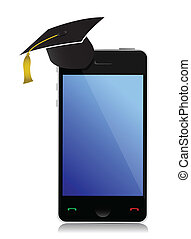 phone with graduation hat illustration design over a white...