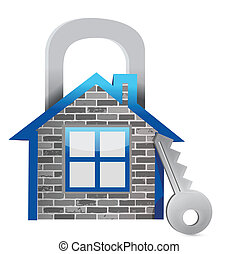 demonstrating home security illustration design over a white...
