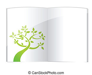 Plant growing from open book illustration design over white