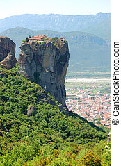 Kalampaka Town and rock with Holy Trinity Monastery on a...