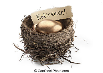 close up shot of golden eggswith retirement paper in nest -...