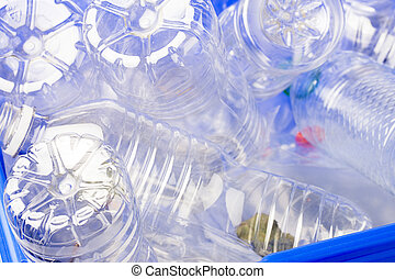 disposable plastic bottles for recycling - Close-up shot of...