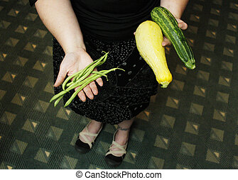 Fresh Vegetables - Handfuls of fresh vegetables.