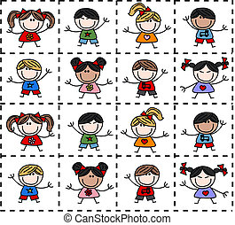 mixed ethnic happy kids seamless background