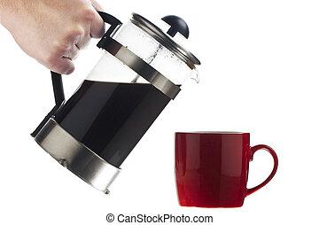 black coffee into a pot