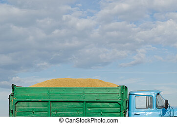 retro truck lorry car harvest wheat grain cereal - old retro...