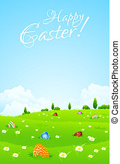 Green Landscape Background with Easter Eggs, Flowers, Trees...
