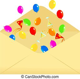 party envelope - Open envelope containing party balloons,...