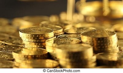 Gold and money - Coins and gold- Finance Concept