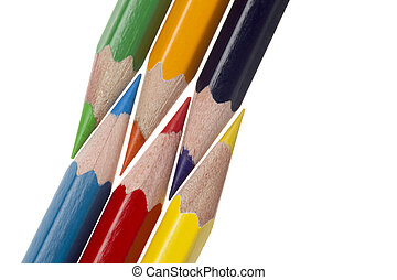 close up cropped shot of color pencils - Detailed shot of...