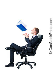 happy businessman throwing up folder with documents sitting...