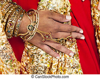 close up of a indian brides hand - Cropped close-up shot of...