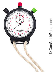 close up of stopwatch on white - Close-up shot of a...
