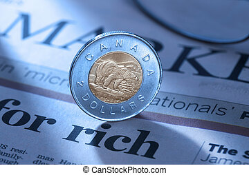 close up shot of a two dollar coin - Close-up shot of a two...
