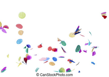 colorful confetti on plain white background - Close-up shot...