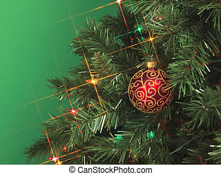cropped image of christmas tree with a ball
