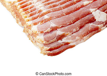 cropped image of sliced raw bacon - Cropped image of sliced...