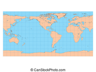 Equirectangular Americas - Very high detailed map of the...