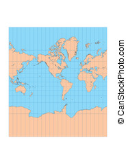 Mercator Americas - Very high detailed map of the world in...