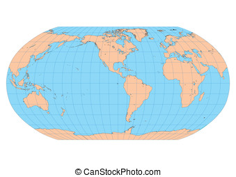 Robinson Americas - Very high detailed map of the world in...