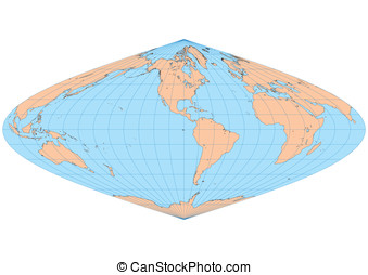 Sinusoidal Americas - Very high detailed map of the world in...