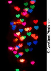 Valentines Day card background with blur heart bokeh -...