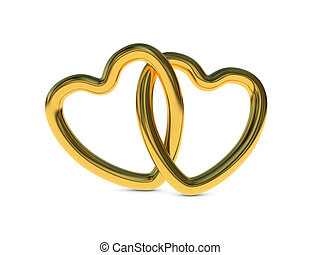 Intertwined gold heart rings - Two intertwined gold heart...