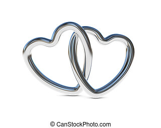 Intertwined silver heart rings - Two intertwined silver...