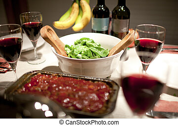 food served in a restaurant - Close-up of wine salad and...