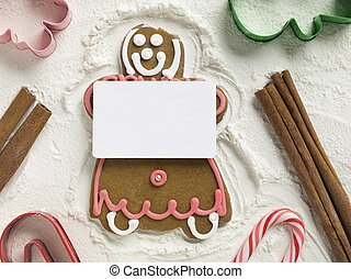 gingerbread girl with card - Gingerbread girl holding an...
