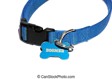 Blue Dog Collar - Isolated blue dog collar with the name...